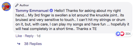Tommy Emmanuel FB comment
